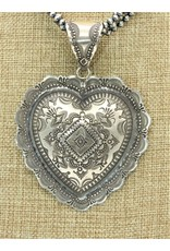 SW Native American SW-P Lg.Heart stmpd. pendant by Vincent
