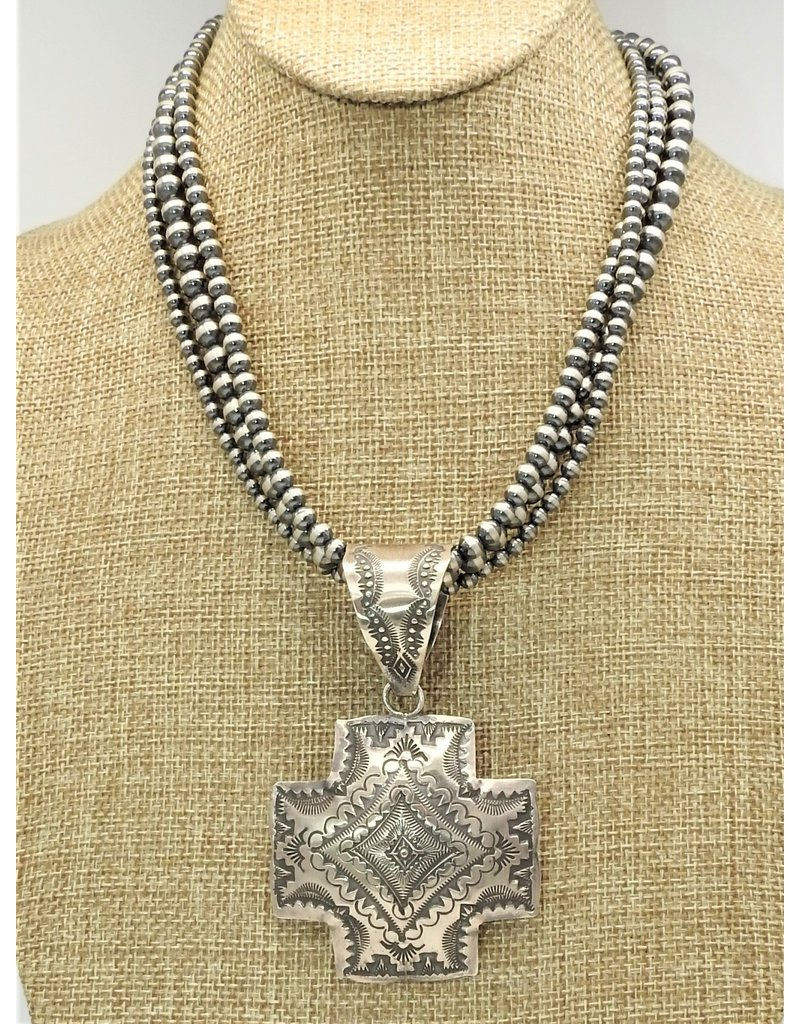 SW Native American SW-P SS Cross stmpd pndnt by Vincent (Beads sold separately)
