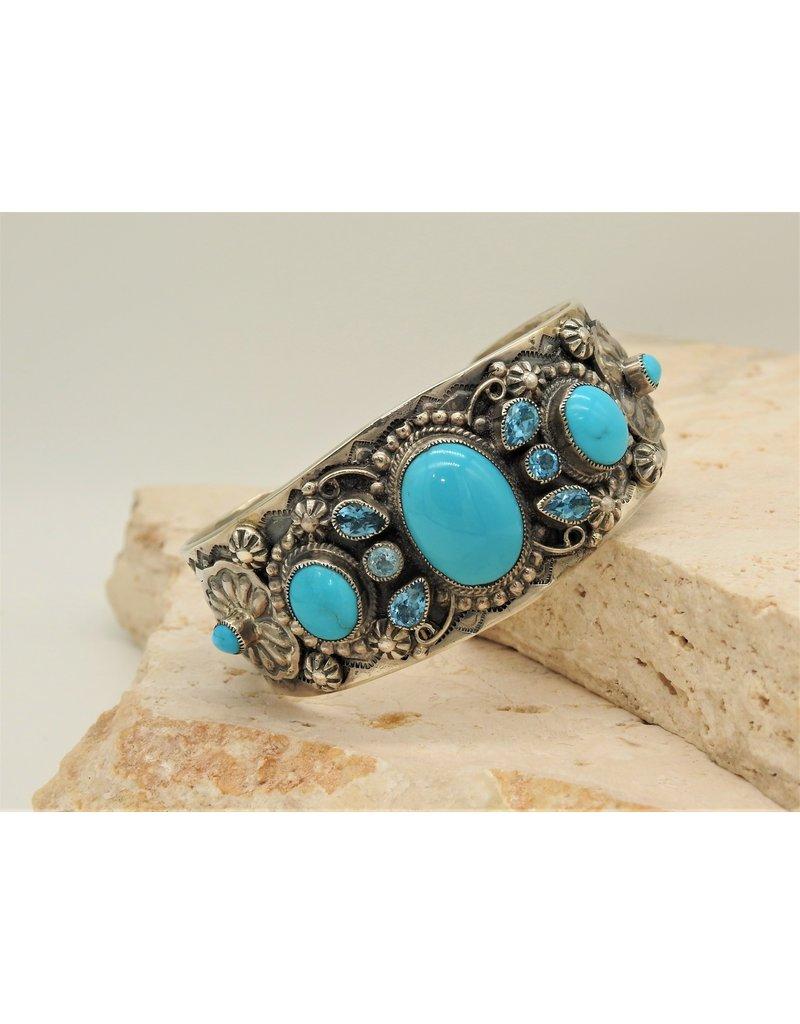 SW Native American Bracelet Turq./Blue Topaz Multi Stn.