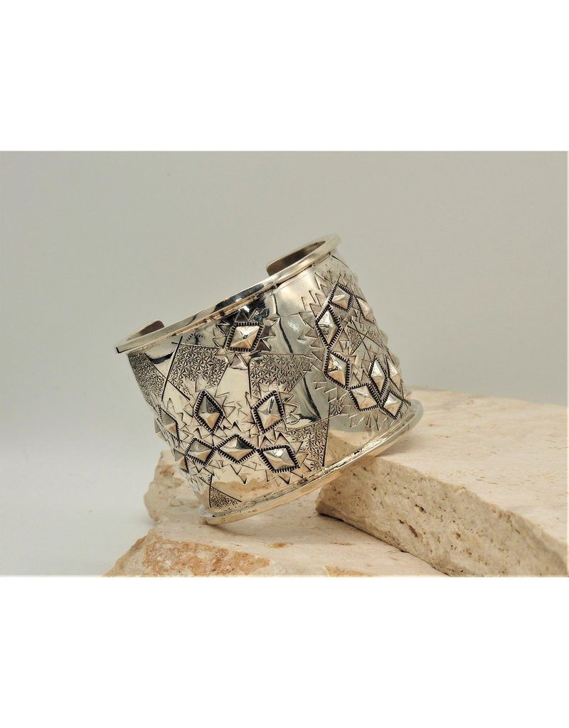 """SW Native American 2"""" Sterling Silver Repousse Cuff size 6"""