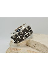"""SW Native American SW - Cuff 1.5"""" Crosses Overlay Sterling Silver Sz.6"""
