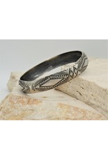 SW Native American Sterling Silver Stamped Bangle1