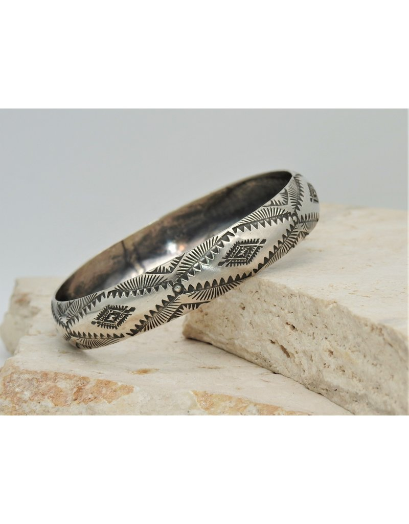 SW Native American Sterling Silver Stamped Bangle2