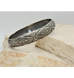 SW Native American Sterling Silver Stamped Bangle3