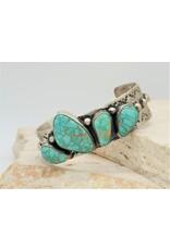 SW Native American SS Stamped 4 Stone Carico Lake Bracelet