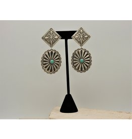 SW Native American SW-E SS Stamped Conchos w/ Turq. Earrings