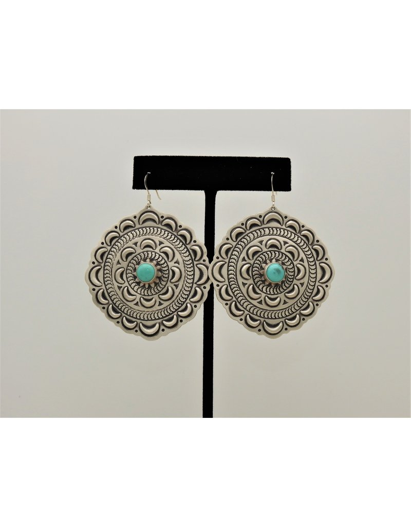 SW Native American SW-E SS Round Stamped w/ turquoise earrings