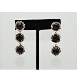 SW Native American SW-E SS/Onyx 3 Stone Earrings