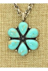 SW Native American SW-P Carico Lake Turquoise 6 stone cluster Pendant