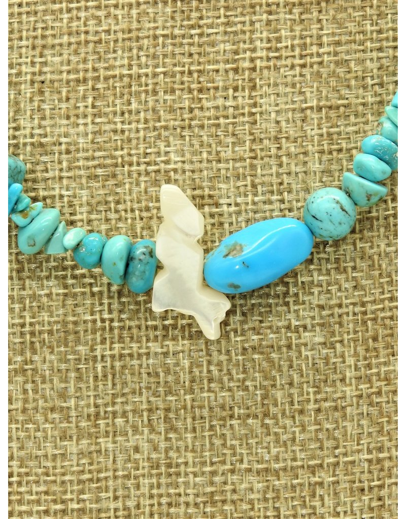 Silver Sun Turquoise  Mix Beads with Wolf Fetish Necklace