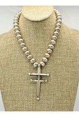 "Silver Sun 17"" SS Double Barred Cross on Handmade Beads"