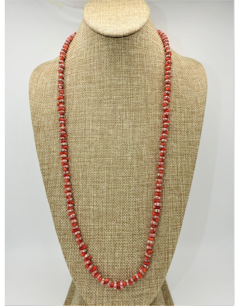 Silver Sun SS-IN Coral & Red African Bead Necklace