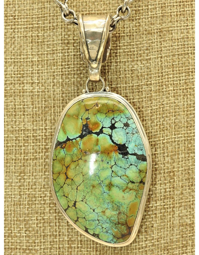 Shreve Saville Lg. Free Form Chinese Turquoise Pendant