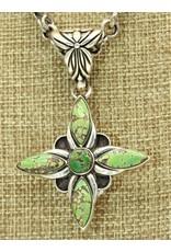 Shreve Saville SS w/Natural Grasshopper Turquoise Cross Pendant