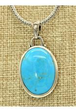 Shreve Saville SS Oval w/ Nakozari Turquoise Pendant