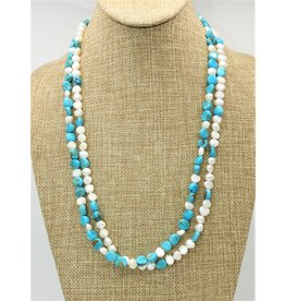 Silver Sun SS-IN Bead SK/Pearl 2stnd Necklace