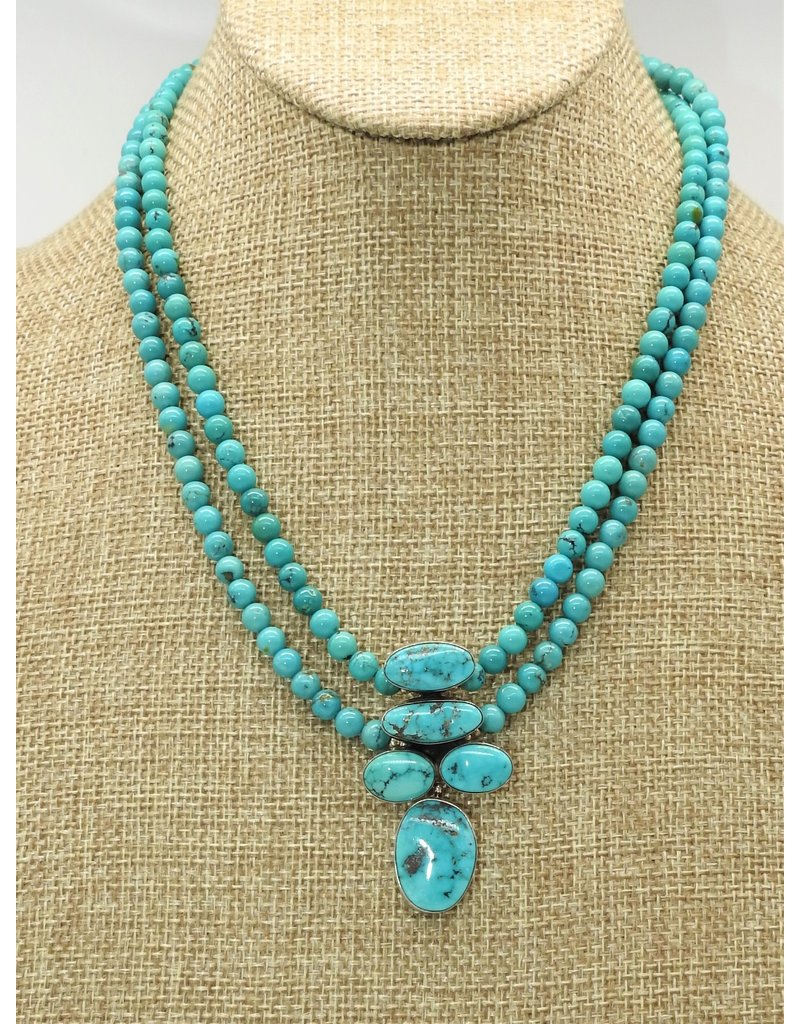 Silver Sun Lone Mountain Turquoise Pend/Beads Necklace