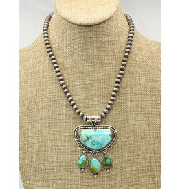Silver Sun SS--C Royston Pend. on Antique Beads-RuthAnnBegay