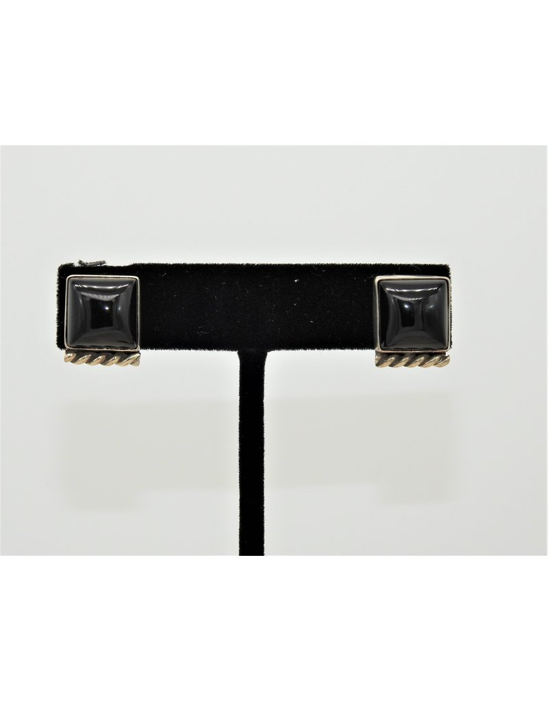 Silver Sun Onyx Square earrings by Ruthann Begay