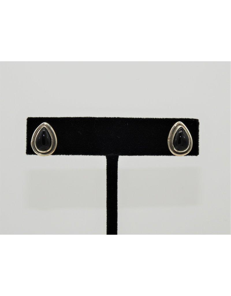 Silver Sun Onyx Teardrop earrings by Ruthann Begay