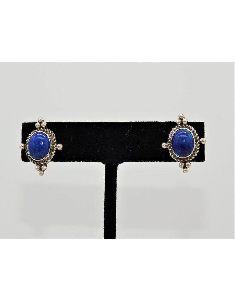Silver Sun Lapis earrings by Ruthann Begay