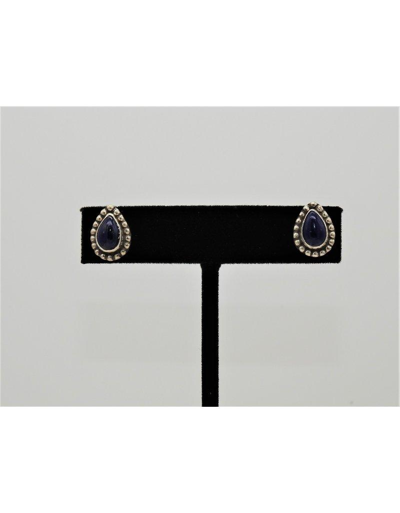 Silver Sun  Lapis Teardrop earrings by Ruthann Begay
