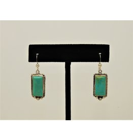 Silver Sun Kingman Turquoise Rectangle earrings