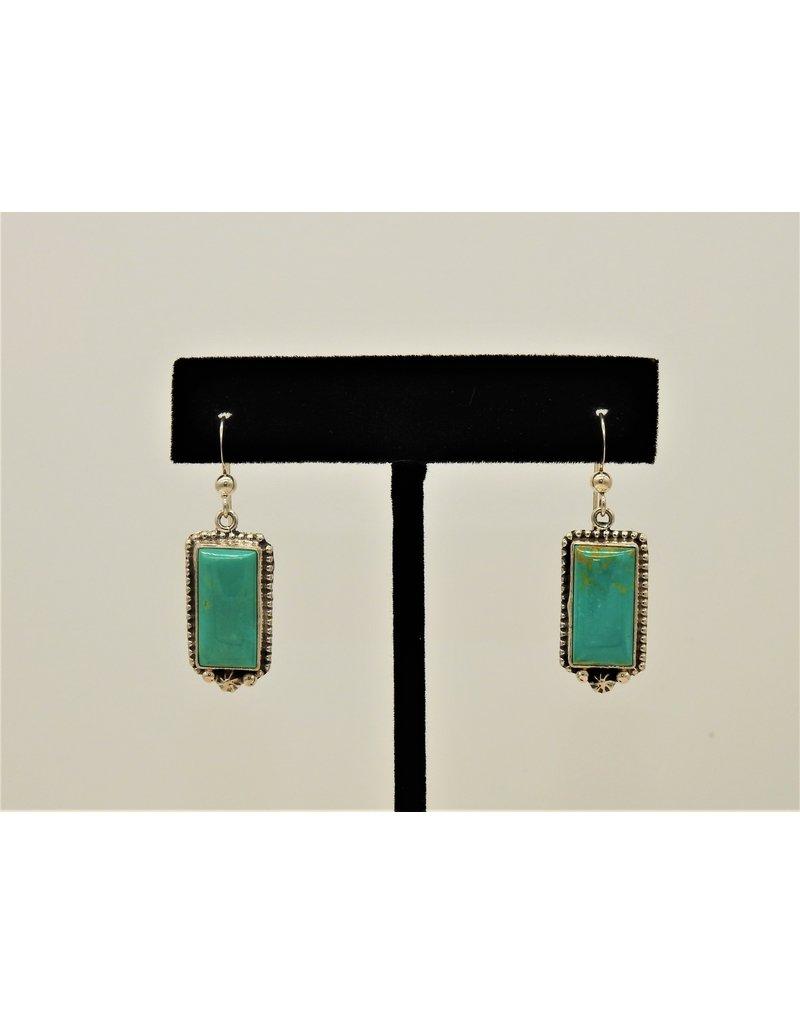 Silver Sun Kingman Turquoise Rectangle earrings