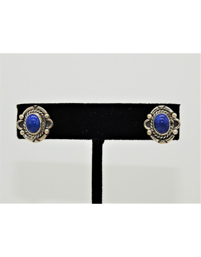 Silver Sun Lapis earrings by Ruthann Begay