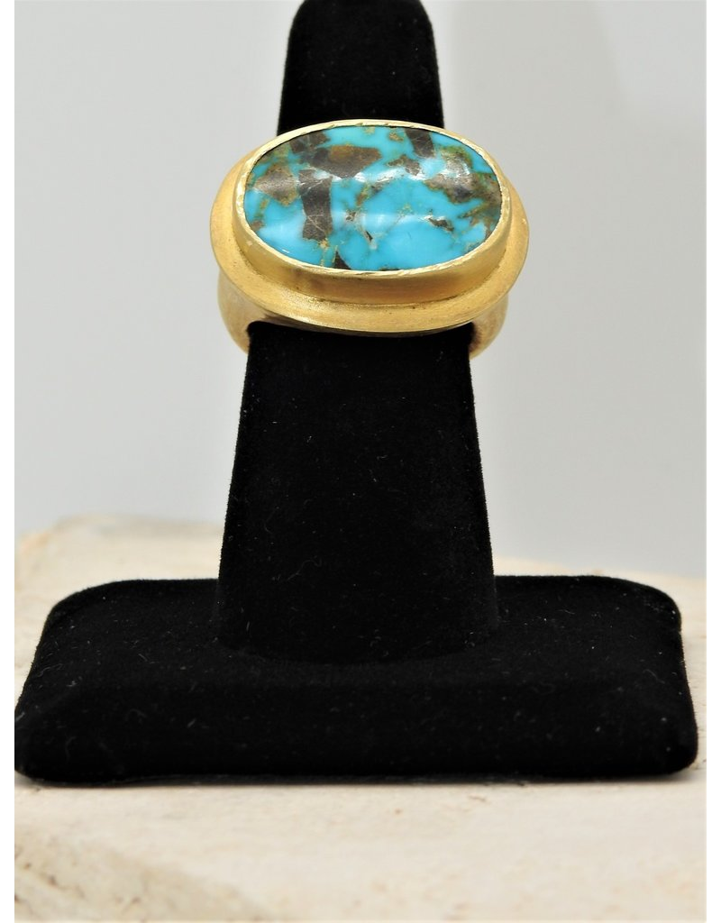 Top Turquoise TT Gold Vermeil w/ Persian Turquoise Ring