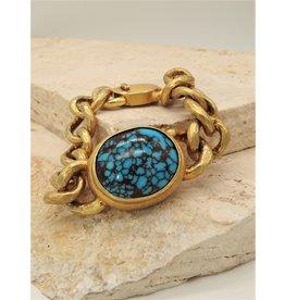 Top Turquoise TT Gold Vermeil Egyptian Turquoise Bracelet