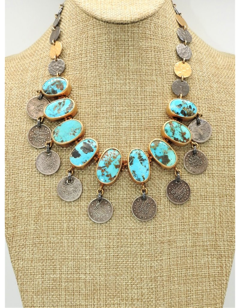 Top Turquoise TT-N Persian Turqoise, Silver & Coin Necklace