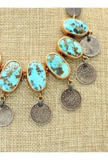 Top Turquoise TT-N Persian Turquoise, Silver & Coin Necklace