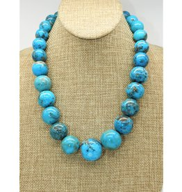 Top Turquoise TT- C Persian Turq. Bead Necklace