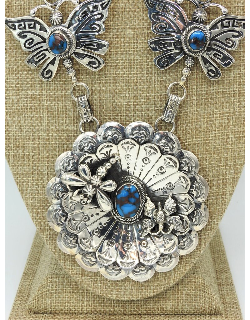 SW Native American Handmade Sterling Silver Overlayed Prince Turquiose Necklace