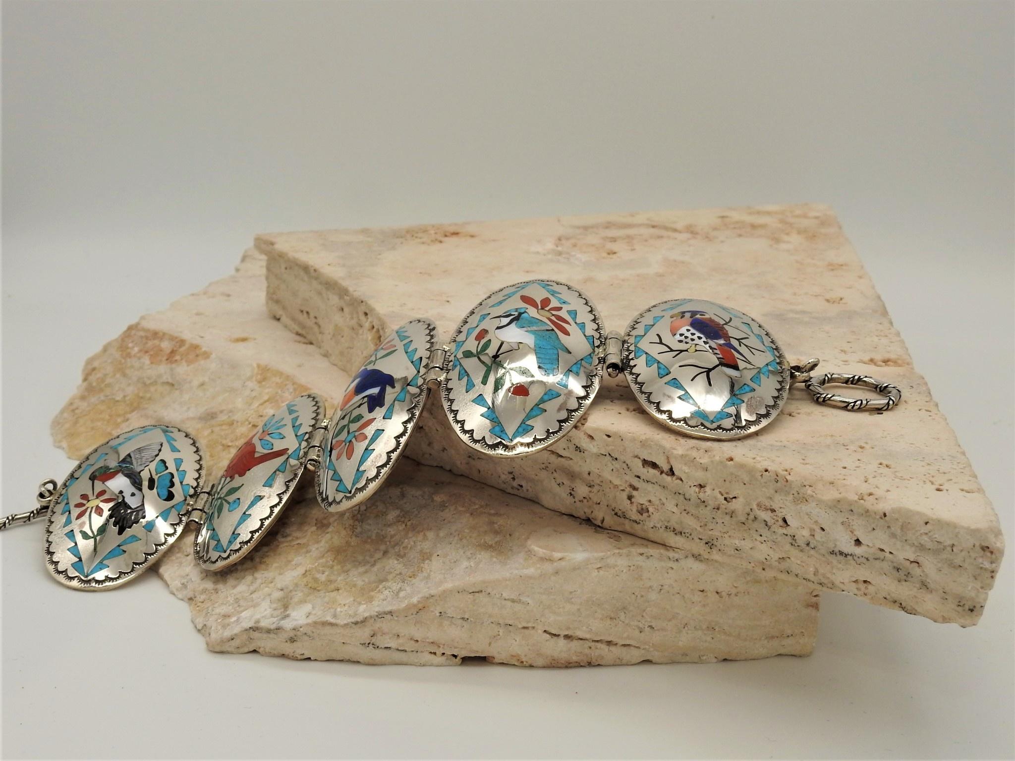 SW Native American Zuni, Quam Family Inlaid Bracelet