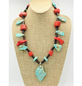Northstar Natural Turquoise, Red & Black Coral Necklace