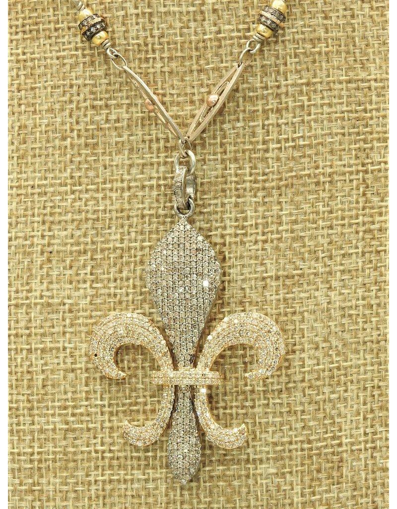 "Gildas Gewels 15.5"" Gold & Silver Diamond Fleur de Lis, Vntg chain"