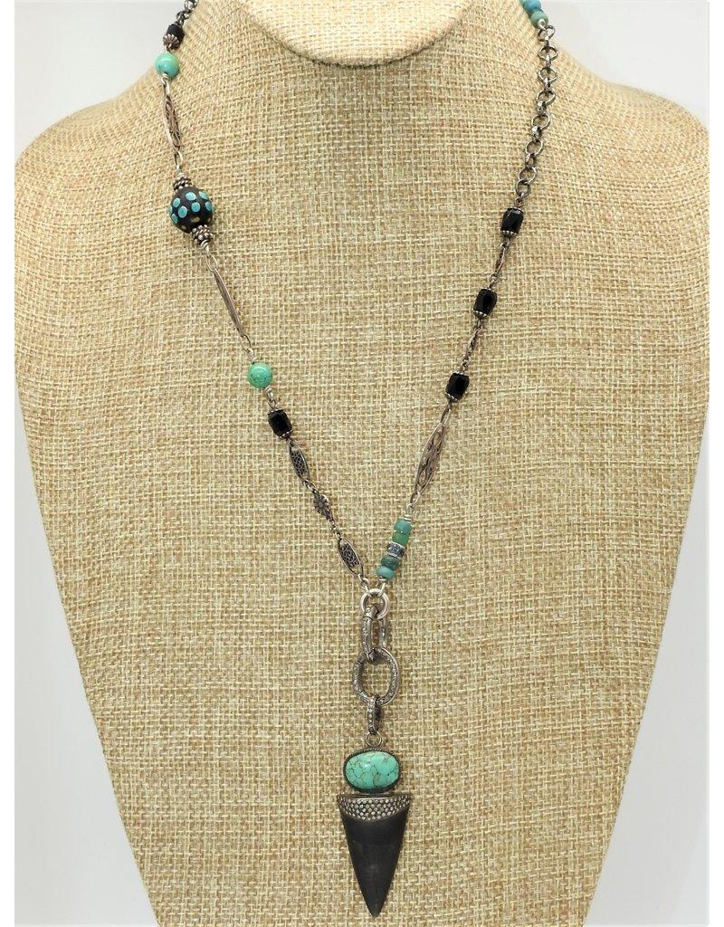 """Gildas Gewels 21"""" Turq & Diam necklace"""
