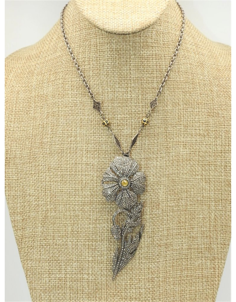 "Gildas Gewels 16"" Diamond & Citrine Flower, Vintage Chain"
