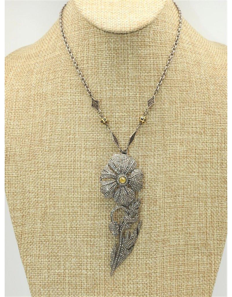 Gildas Gewels N1233-C Diam/Citrine Flower