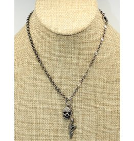 Gildas Gewels GG-NSK2C Diam Skull & Snake on Vintage Chain