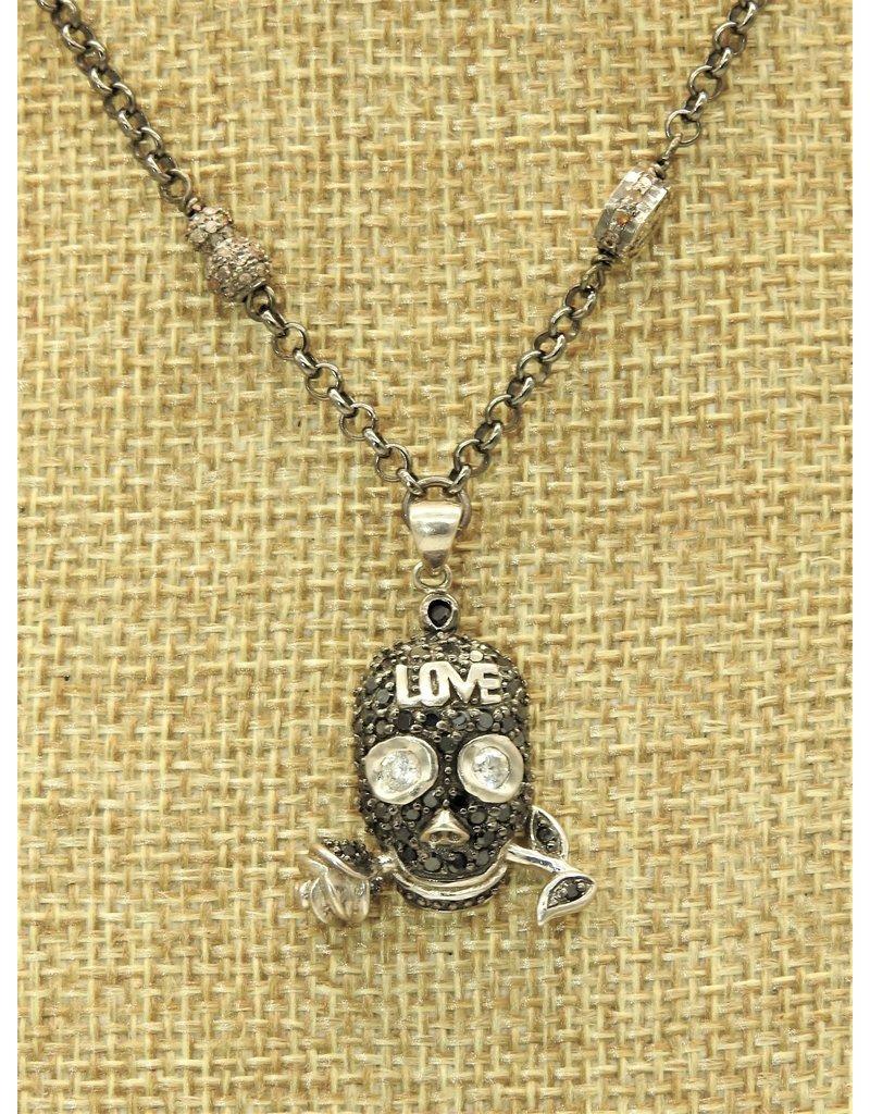 Gildas Gewels Diamond Skull (LOVE) on Vintage Chain