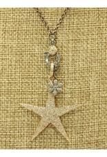 Gildas Gewels N1248-C Gold Star w/Diam Flower