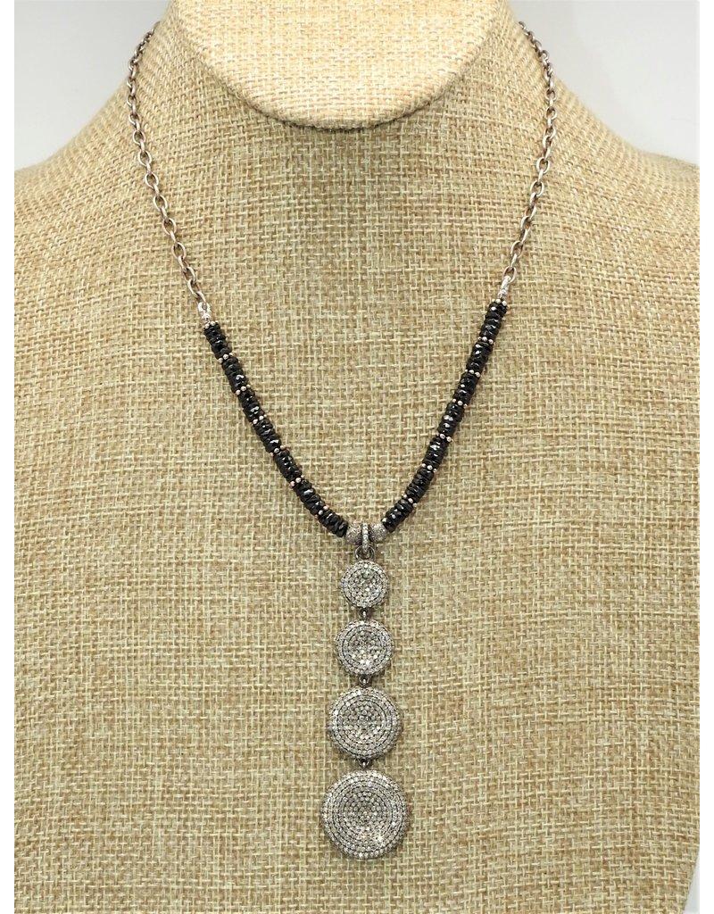 Gildas Gewels 4 Diamond Circular Discs w/ Blk Jet, Vntg chain necklace
