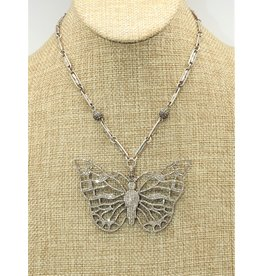 """Gildas Gewels 16"""" Large Diamond Butterfly, Vintage Chain Necklace"""