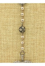 "Gildas Gewels N1292C 16""Big Pnd Heart, Blk Enamel-Vntg Chain Necklace"