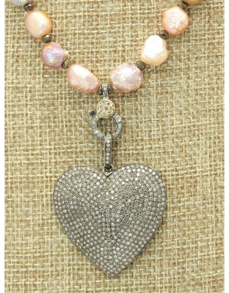 Gildas Gewels N1265B-C Diam Heart/LstrPrl-Gold Clasp