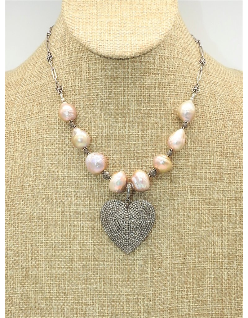 Gildas Gewels Diam Heart with Luster Pearls, Vntg Chain Necklace