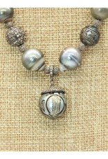 Gildas Gewels N1194-C Carved Pearl/Diam Ball